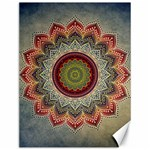 Folk Art Lotus Mandala Dirty Blue Red Canvas 12  x 16   16 x12 Canvas - 1