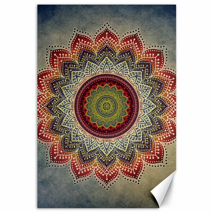 Folk Art Lotus Mandala Dirty Blue Red Canvas 12  x 18