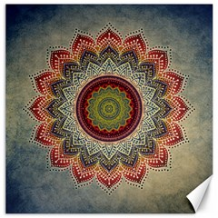 Folk Art Lotus Mandala Dirty Blue Red Canvas 16  X 16