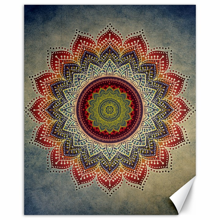 Folk Art Lotus Mandala Dirty Blue Red Canvas 16  x 20
