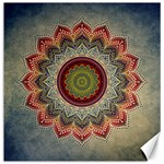 Folk Art Lotus Mandala Dirty Blue Red Canvas 20  x 20   20 x20 Canvas - 1