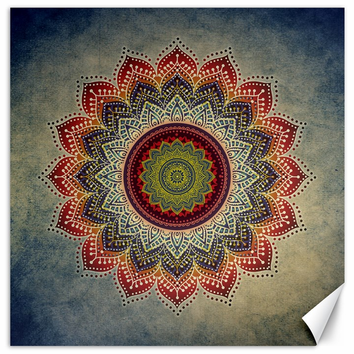 Folk Art Lotus Mandala Dirty Blue Red Canvas 20  x 20