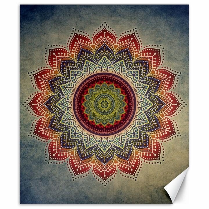 Folk Art Lotus Mandala Dirty Blue Red Canvas 20  x 24
