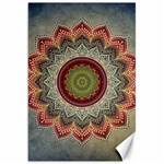 Folk Art Lotus Mandala Dirty Blue Red Canvas 20  x 30   30 x20 Canvas - 1
