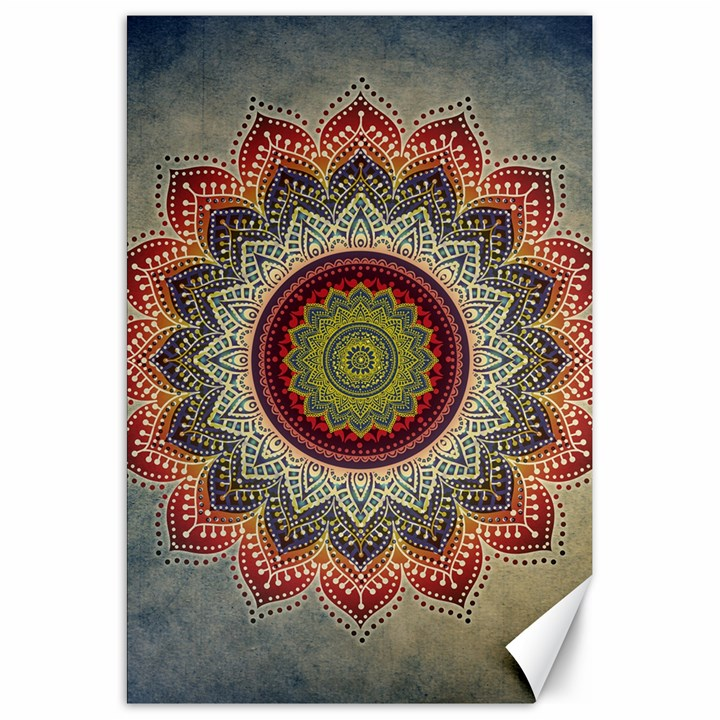 Folk Art Lotus Mandala Dirty Blue Red Canvas 20  x 30