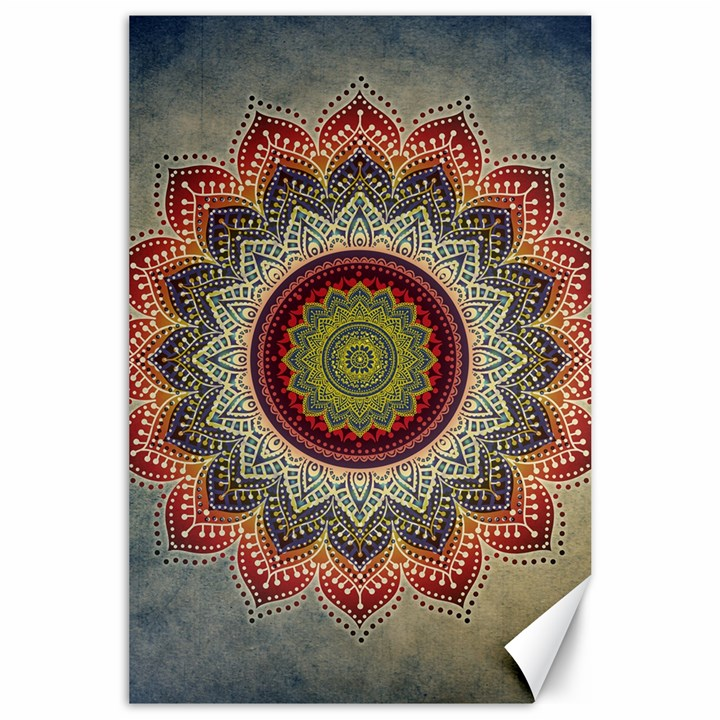 Folk Art Lotus Mandala Dirty Blue Red Canvas 24  x 36