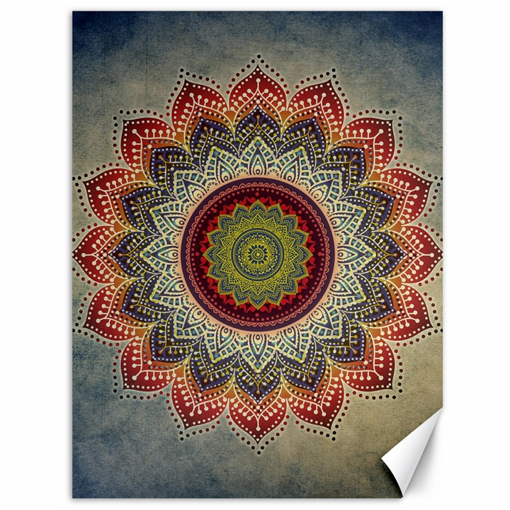 Folk Art Lotus Mandala Dirty Blue Red Canvas 36  x 48