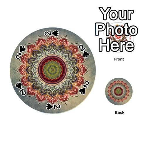 Folk Art Lotus Mandala Dirty Blue Red Playing Cards 54 (Round)