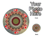 Folk Art Lotus Mandala Dirty Blue Red Playing Cards 54 (Round)  Front - HeartK