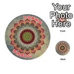 Folk Art Lotus Mandala Dirty Blue Red Playing Cards 54 (Round)  Front - Joker2