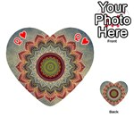 Folk Art Lotus Mandala Dirty Blue Red Playing Cards 54 (Heart)  Front - HeartQ