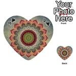 Folk Art Lotus Mandala Dirty Blue Red Playing Cards 54 (Heart)  Front - Club9