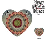 Folk Art Lotus Mandala Dirty Blue Red Playing Cards 54 (Heart)  Front - ClubK