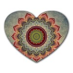 Folk Art Lotus Mandala Dirty Blue Red Heart Mousepads Front