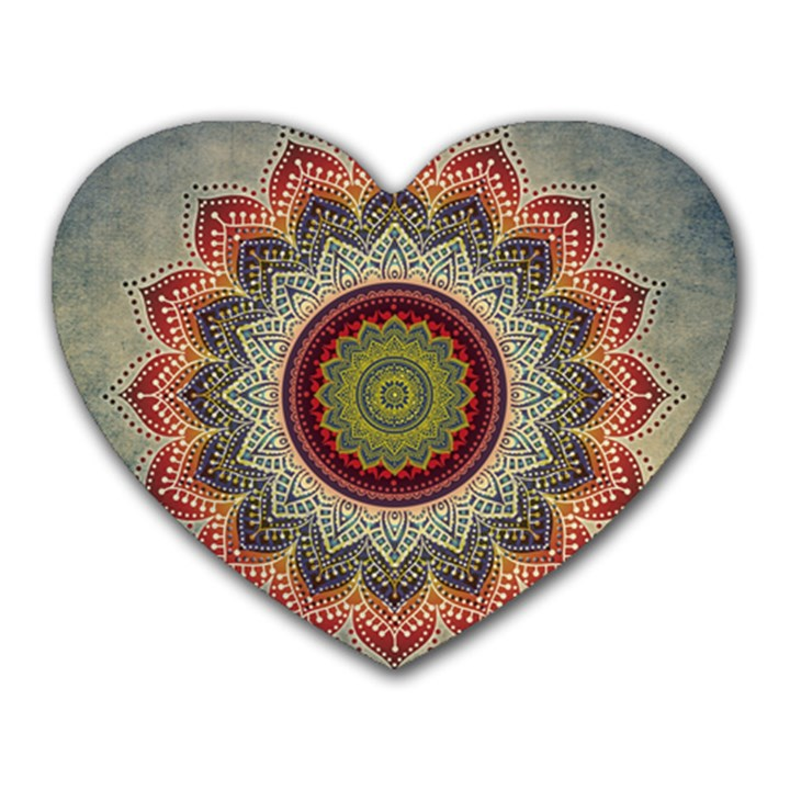 Folk Art Lotus Mandala Dirty Blue Red Heart Mousepads