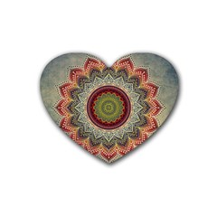 Folk Art Lotus Mandala Dirty Blue Red Rubber Coaster (heart)