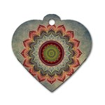 Folk Art Lotus Mandala Dirty Blue Red Dog Tag Heart (One Side) Front