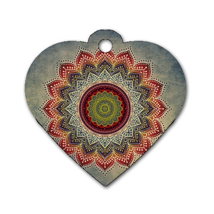 Folk Art Lotus Mandala Dirty Blue Red Dog Tag Heart (One Side)