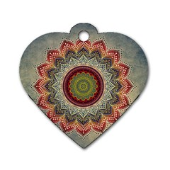 Folk Art Lotus Mandala Dirty Blue Red Dog Tag Heart (two Sides)