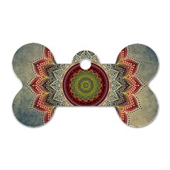 Folk Art Lotus Mandala Dirty Blue Red Dog Tag Bone (One Side)