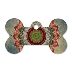 Folk Art Lotus Mandala Dirty Blue Red Dog Tag Bone (two Sides)