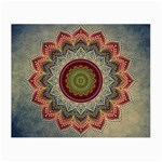 Folk Art Lotus Mandala Dirty Blue Red Small Glasses Cloth (2-Side) Front