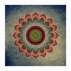 Folk Art Lotus Mandala Dirty Blue Red Medium Glasses Cloth (2-Side)