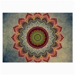 Folk Art Lotus Mandala Dirty Blue Red Large Glasses Cloth (2-Side) Back