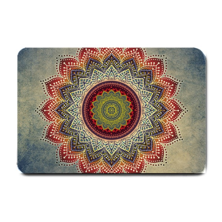 Folk Art Lotus Mandala Dirty Blue Red Small Doormat