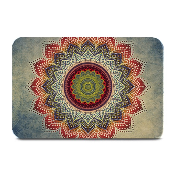 Folk Art Lotus Mandala Dirty Blue Red Plate Mats