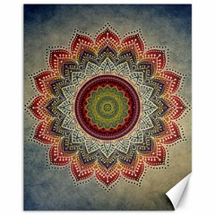 Folk Art Lotus Mandala Dirty Blue Red Canvas 11  x 14