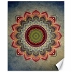 Folk Art Lotus Mandala Dirty Blue Red Canvas 11  x 14   14 x11 Canvas - 1