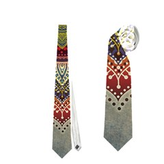 Folk Art Lotus Mandala Dirty Blue Red Neckties (Two Side)
