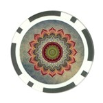 Folk Art Lotus Mandala Dirty Blue Red Poker Chip Card Guards Front