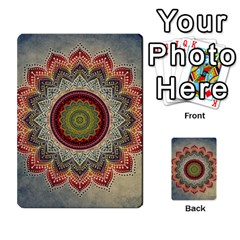 Folk Art Lotus Mandala Dirty Blue Red Multi Purpose Cards (rectangle)