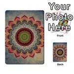 Folk Art Lotus Mandala Dirty Blue Red Multi-purpose Cards (Rectangle)  Back 1