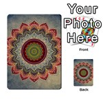 Folk Art Lotus Mandala Dirty Blue Red Multi-purpose Cards (Rectangle)  Front 54