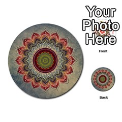Folk Art Lotus Mandala Dirty Blue Red Multi Purpose Cards (round)
