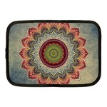 Folk Art Lotus Mandala Dirty Blue Red Netbook Case (Medium)  Front