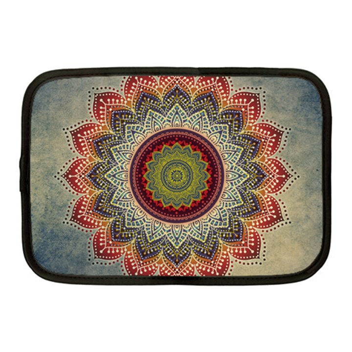Folk Art Lotus Mandala Dirty Blue Red Netbook Case (Medium)