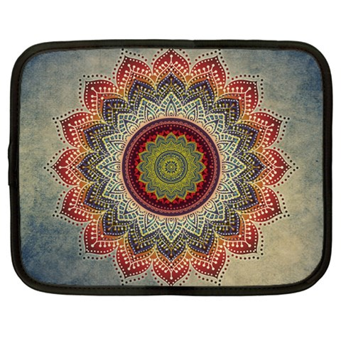 Folk Art Lotus Mandala Dirty Blue Red Netbook Case (Large)