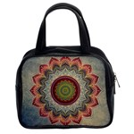 Folk Art Lotus Mandala Dirty Blue Red Classic Handbags (2 Sides) Front