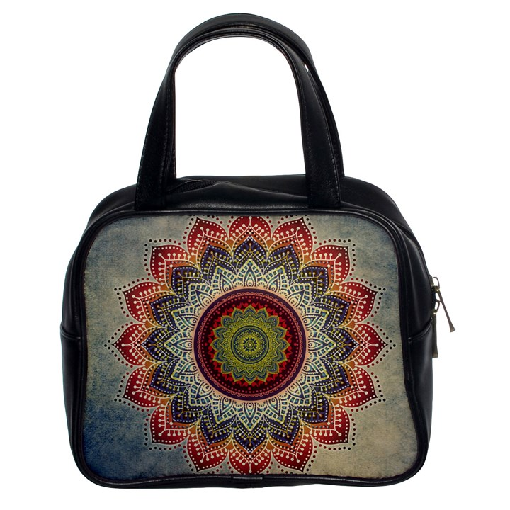 Folk Art Lotus Mandala Dirty Blue Red Classic Handbags (2 Sides)