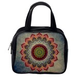 Folk Art Lotus Mandala Dirty Blue Red Classic Handbags (2 Sides) Back