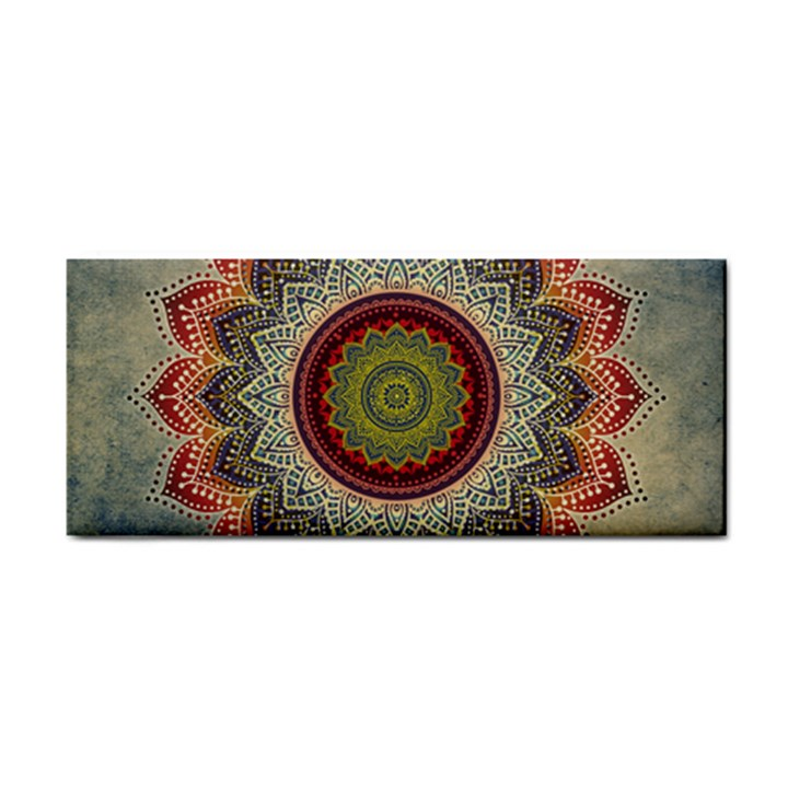 Folk Art Lotus Mandala Dirty Blue Red Hand Towel