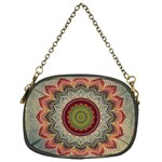 Folk Art Lotus Mandala Dirty Blue Red Chain Purses (One Side)  Front