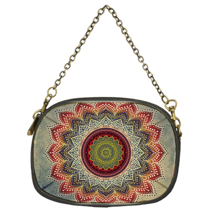 Folk Art Lotus Mandala Dirty Blue Red Chain Purses (One Side)