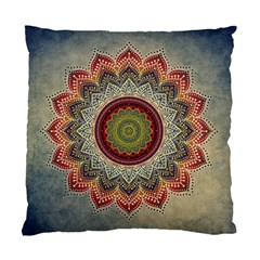 Folk Art Lotus Mandala Dirty Blue Red Standard Cushion Case (two Sides)