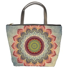 Folk Art Lotus Mandala Dirty Blue Red Bucket Bags