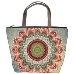 Folk Art Lotus Mandala Dirty Blue Red Bucket Bags Front
